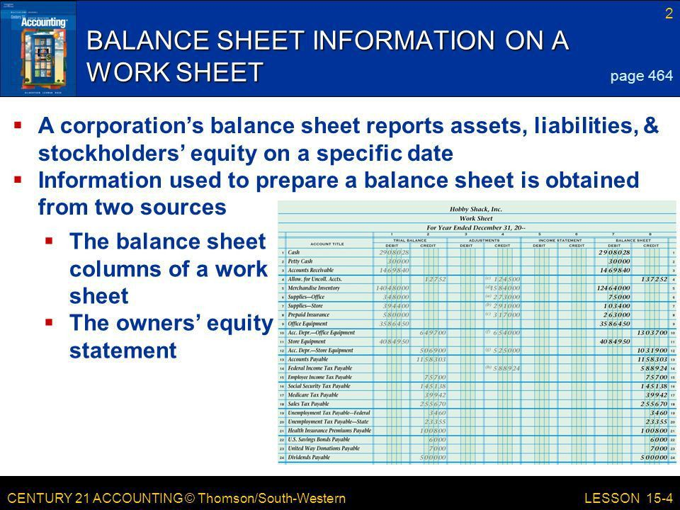 CENTURY 21 ACCOUNTING © Thomson/South-Western LESSON 15-4 ...