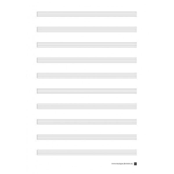 Blank music staff paper, no clef - Devenir Musique