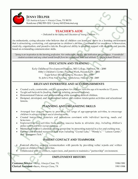 Teacher's Aide or Assistant Resume Sample or CV Example | Job ...