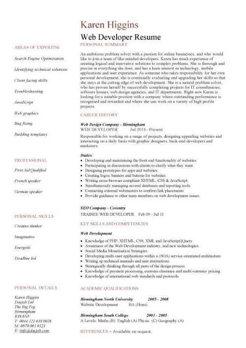 Web developer resume, example, CV, designer, template, development ...