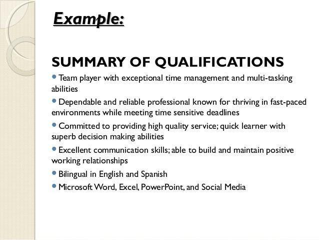 Qualifications Summary Resume Sample - Ecordura.com