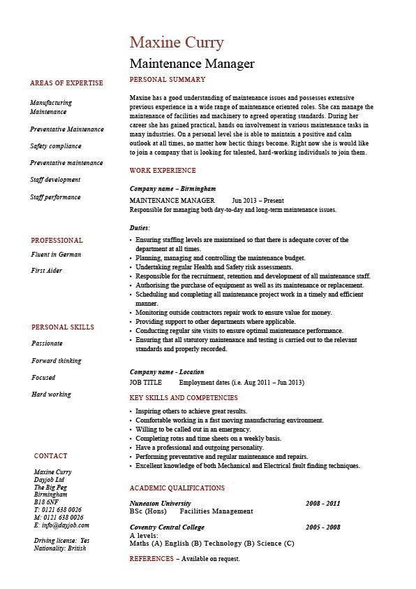 Building Maintenance Resume 19 Example Resume For Maintenance ...