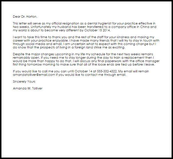 Dental Hygienist Resignation Letter | Resignation Letters | LiveCareer