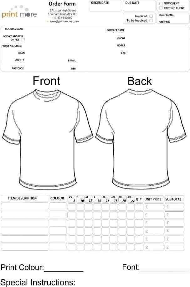 Sweatshirt Order Form Template - Contegri.com