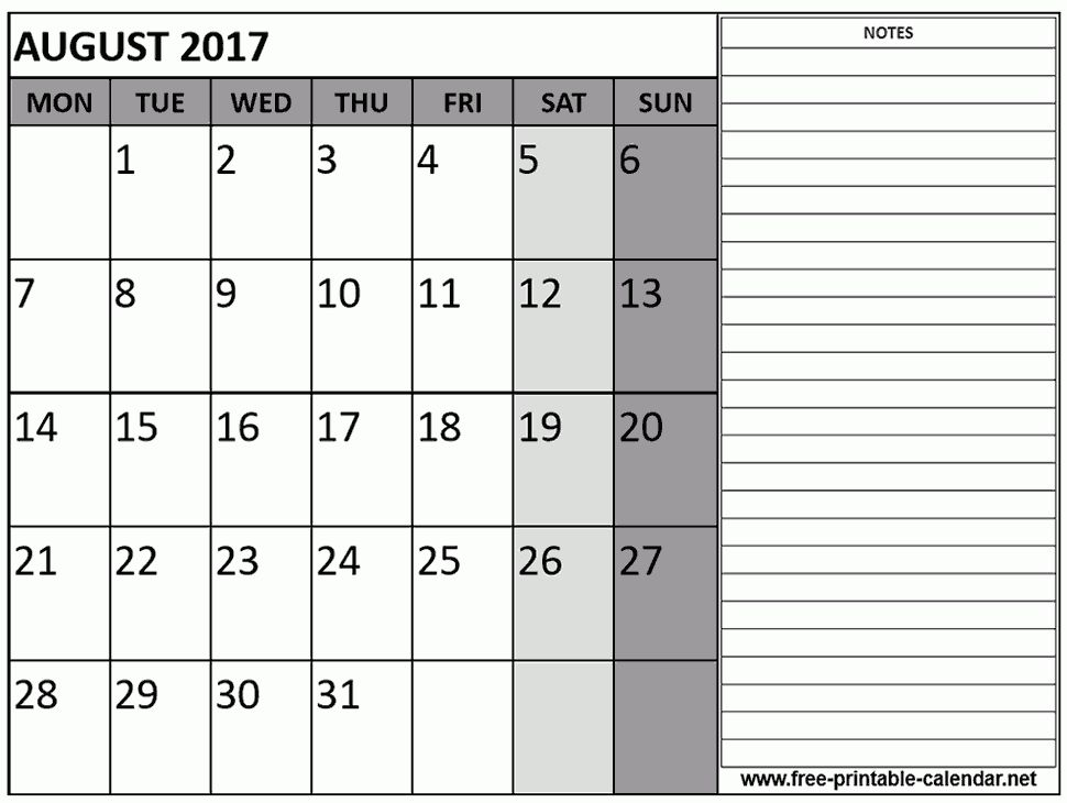 August 2017 Calendar Template - Free printable calendar
