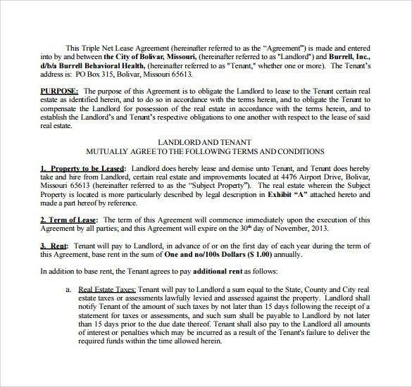 Sample Triple Net Lease Form - 7+ Download Free Documents in PDF ...