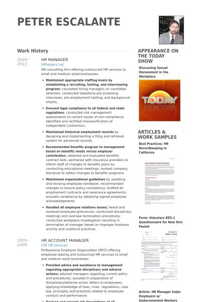 Hr Manager Resume samples - VisualCV resume samples database