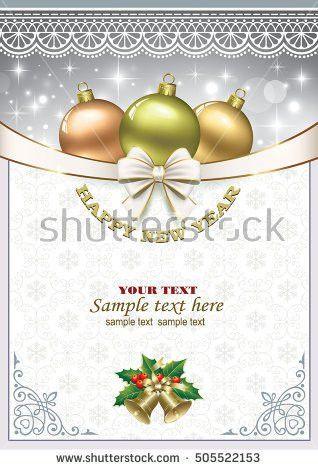 Christmas Card Ball Bells Frame Ornament Stock Vector 529921348 ...