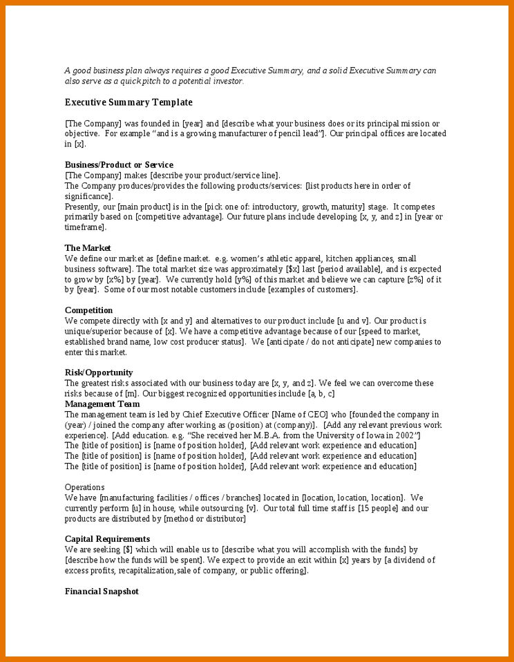 8+ executive summary templates | Itinerary Template Sample