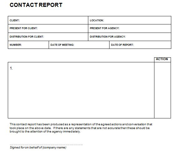 Contact Report Templates - Find Word Templates