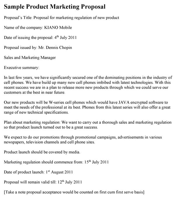 Product Marketing Proposal Sample