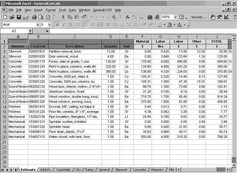Construction Cost Estimating Sheets   Open Door Construction