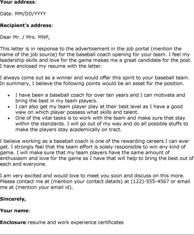 coaching cover letter