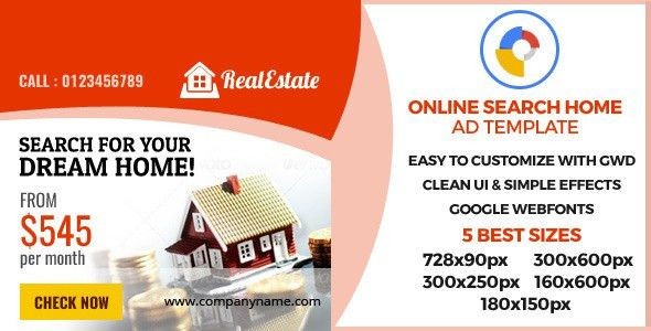 Real Estate - GWD Ad Banner by patrixrio | CodeCanyon