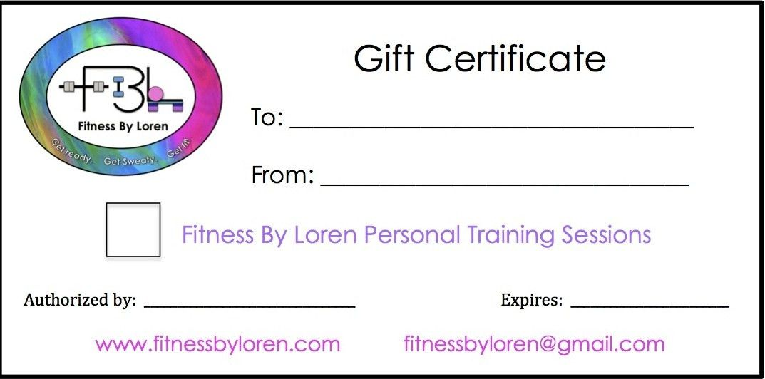 Gift Cerificates - Fitness By Loren