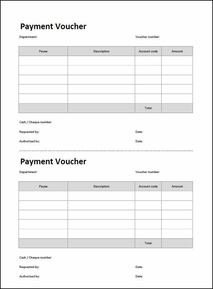 Payment Voucher Template | Double Entry Bookkeeping
