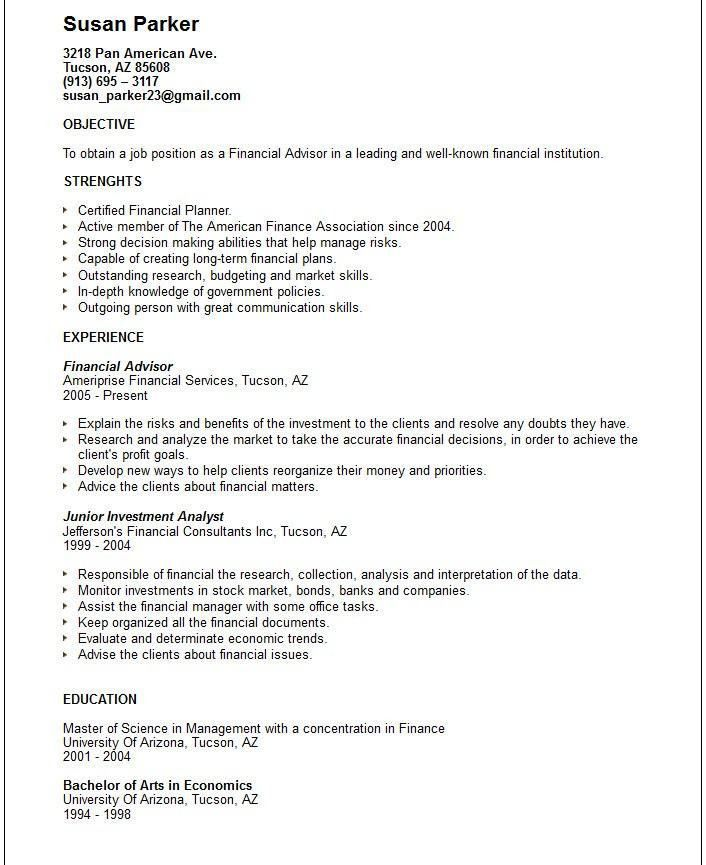 Financial Advisor Resume – Template Design