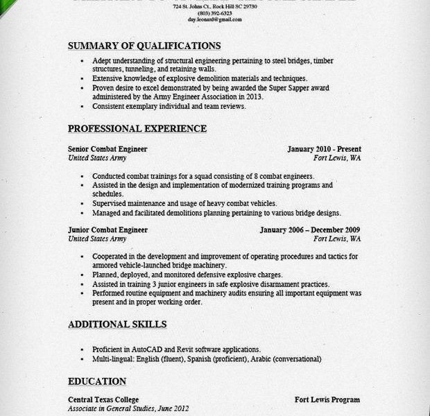 Army Resume [Template.billybullock.us ]