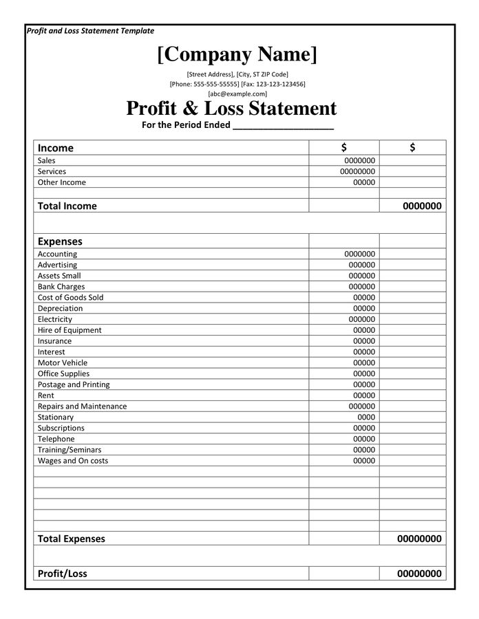 p and l report template