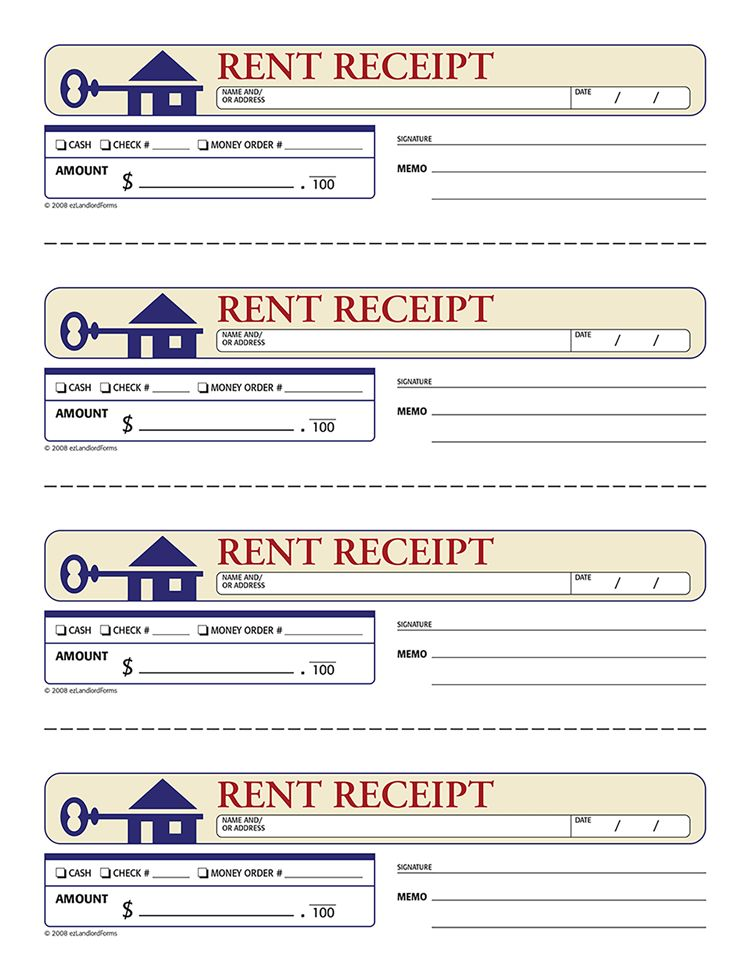 4+ printable rent receipt | Printable Receipt