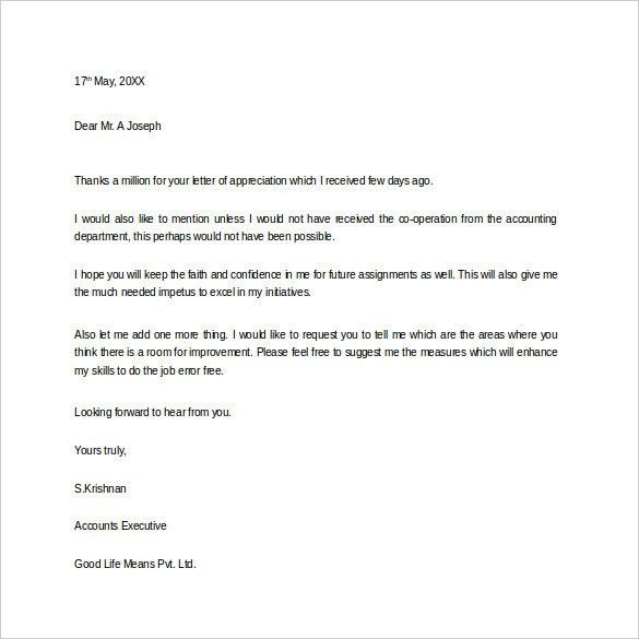 Thank You Letter for Appreciation – 9+ Free Word, Excel, PDF ...