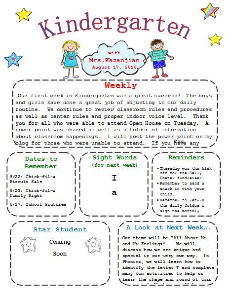 Kindergarten Newsletter Template - 3 Free Newsletters