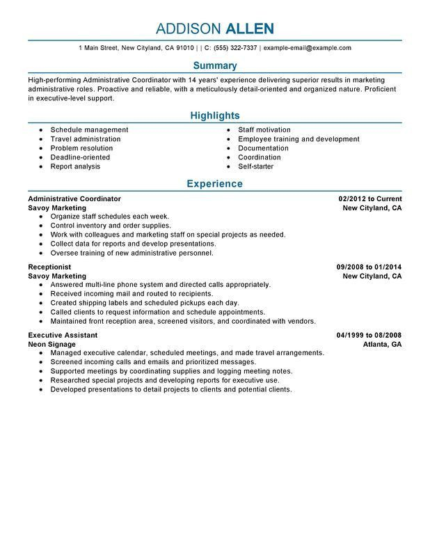 Unforgettable Administrative Coordinator Resume Examples to Stand ...