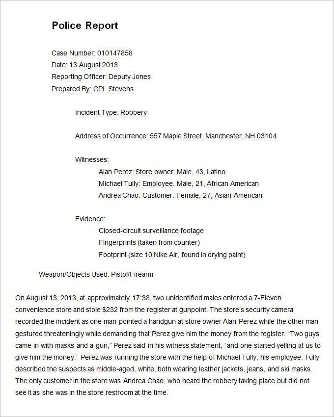 Incident Report Example. Employee Incident Report Form 56+ ...