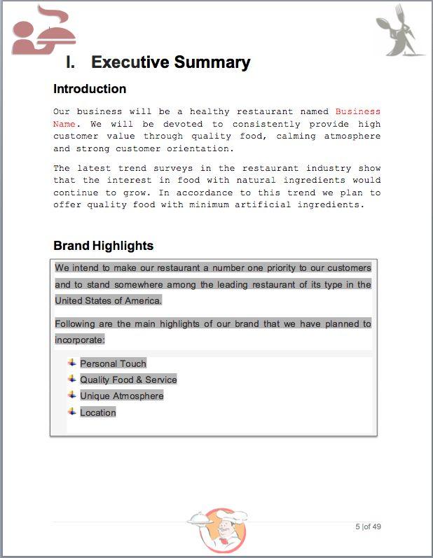 Restaurant Business Plan Sample Pages - Black Box Business Plans