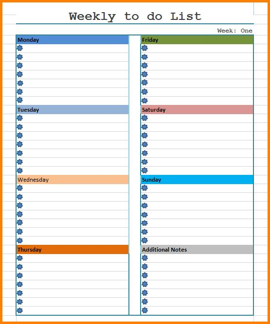 9+ weekly to do list template | Letter Template Word