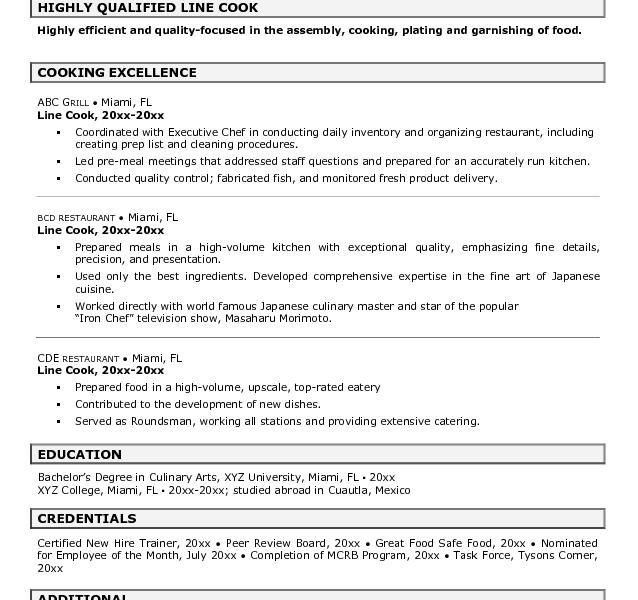 Download Cook Resume Skills | haadyaooverbayresort.com