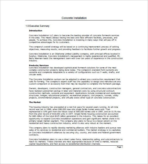 Construction Business Plan Template - 8+ Free Word, Excel, PDF ...
