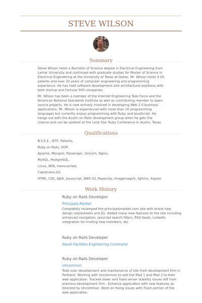 Ruby On Rails Developer Resume samples - VisualCV resume samples ...