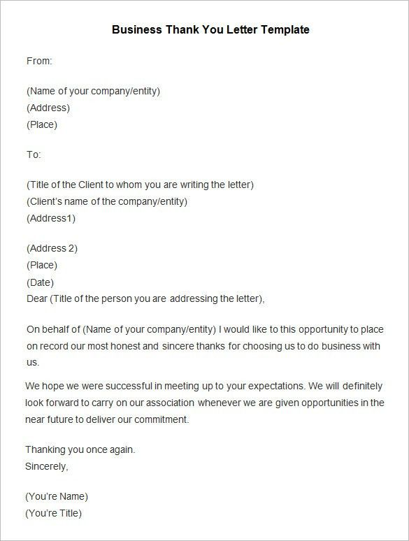Business Thank You Letter Business Thank You Letter 12 Free