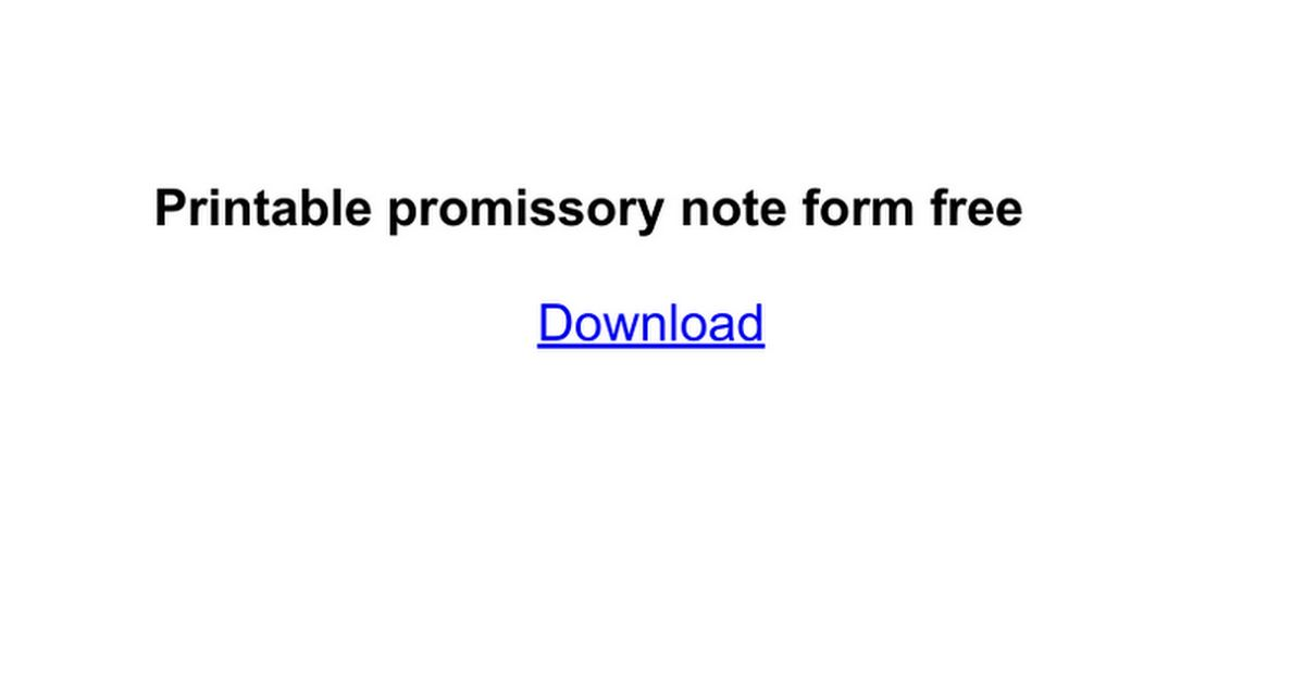 Printable promissory note form free - Google Docs