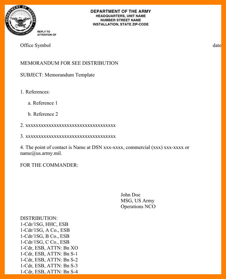 9+ army memorandum template | resumes great