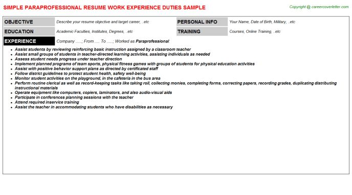 Paraprofessional Resume Sample