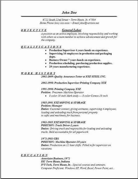 Get Started With Our General Labor Resume Sample - eSample-Resume.com