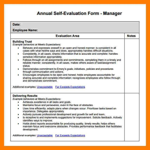 6+ manager job self evaluation examples | teller resume