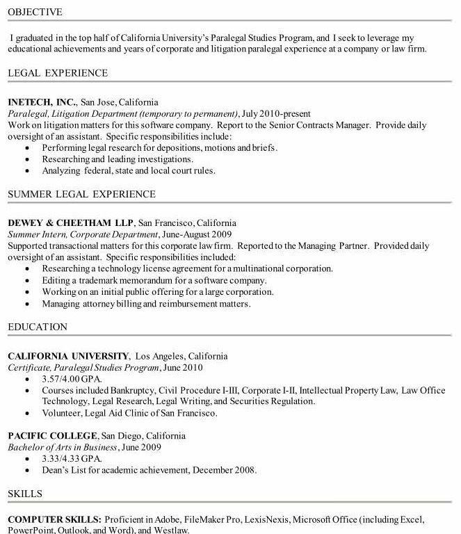Bold Idea Paralegal Resume Sample 10 How To Write A Including ...