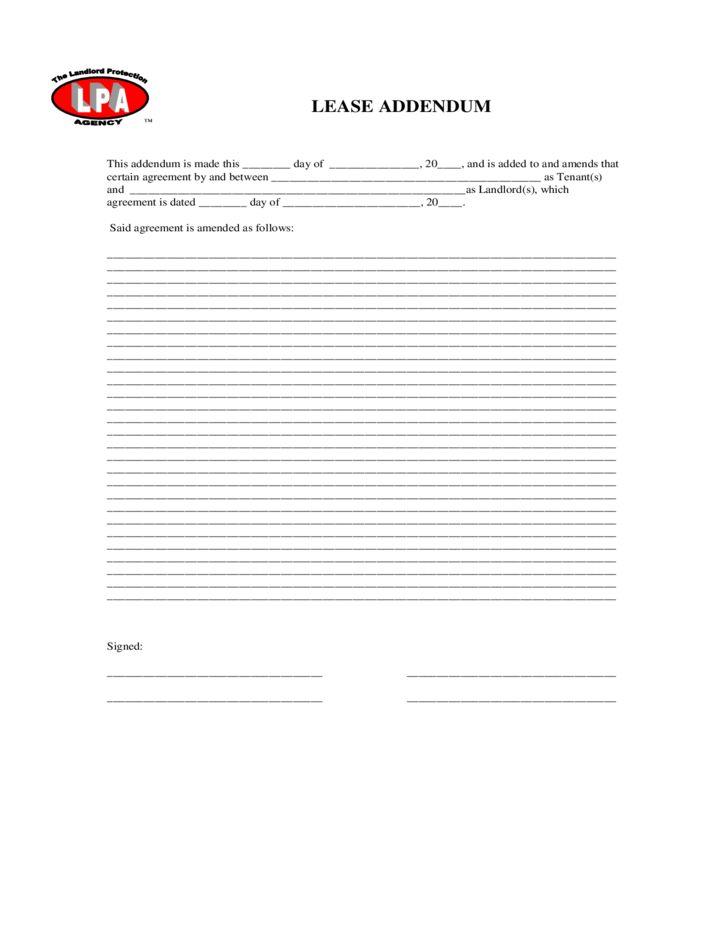 Lease Addendum Sample Form Free Download