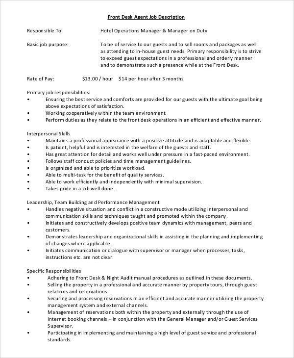 Sample Front Desk Job Description - 10+ Examples in PDF, Word