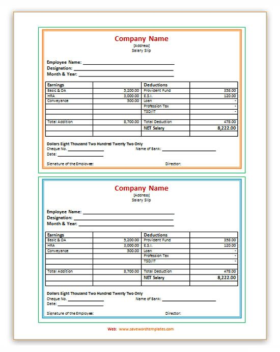 Salary Slip Template - Save Word Templates