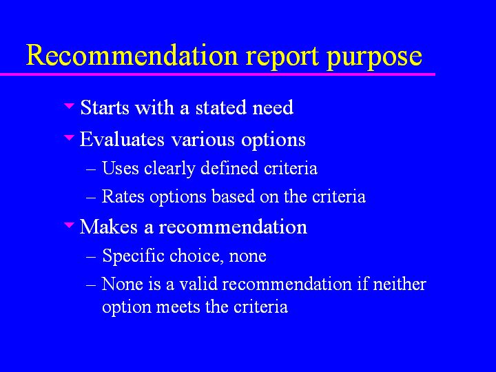 Recommendation Reports Lecture Notes