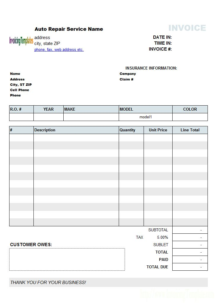 Automotive Sample Invoice Template