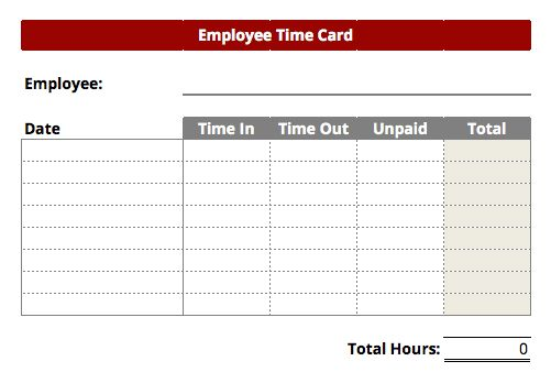 6+ Employee Time Card Templates – Word Templates