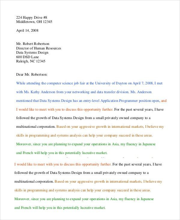 Sample Employment Cover Letter - 5+ Documents In PDF, Word