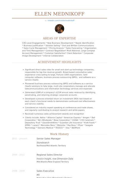 Senior Sales Manager Resume samples - VisualCV resume samples database