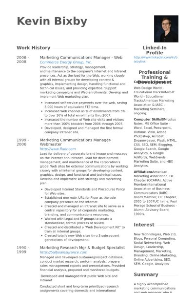 Marketing & Communications Manager Resume samples - VisualCV ...