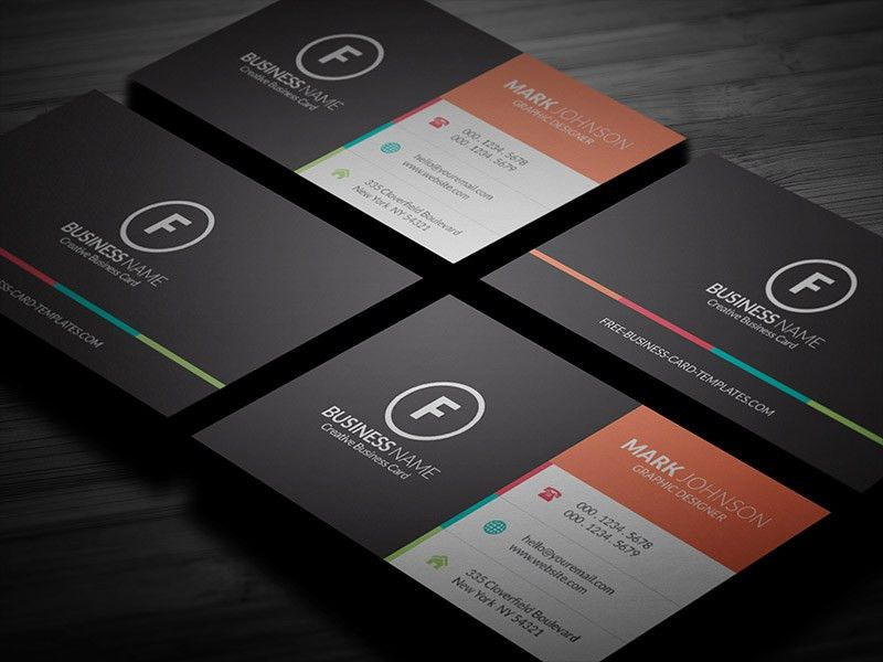 Clean Multicolor Corporate Business Card Template » Free Download ...